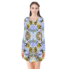 Blue Yellow Flower Girly Pattern, Flare Dress by Costasonlineshop