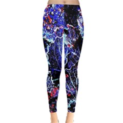 Blue Leaves In Morning Dew Leggings  by Costasonlineshop