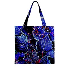 Blue Leaves In Morning Dew Zipper Grocery Tote Bag by Costasonlineshop