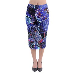 Blue Leaves In Morning Dew Midi Pencil Skirt