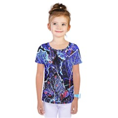 Blue Leaves In Morning Dew Kids  One Piece Tee