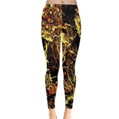 Leaves In Morning Dew,yellow Brown,red, Leggings  by Costasonlineshop