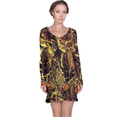 Leaves In Morning Dew,yellow Brown,red, Long Sleeve Nightdress