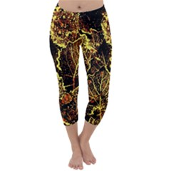 Leaves In Morning Dew,yellow Brown,red, Capri Winter Leggings