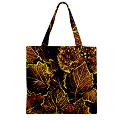 Leaves In Morning Dew,yellow Brown,red, Zipper Grocery Tote Bag by Costasonlineshop