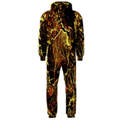 Leaves In Morning Dew,yellow Brown,red, Hooded Jumpsuit (men)