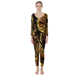 Leaves In Morning Dew,yellow Brown,red, Long Sleeve Catsuit by Costasonlineshop