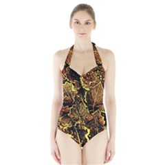Leaves In Morning Dew,yellow Brown,red, Halter Swimsuit