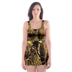 Leaves In Morning Dew,yellow Brown,red, Skater Dress Swimsuit