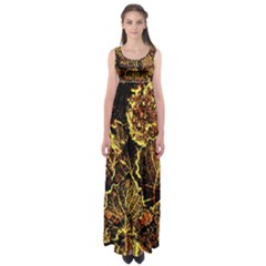 Leaves In Morning Dew,yellow Brown,red, Empire Waist Maxi Dress