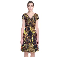 Leaves In Morning Dew,yellow Brown,red, Short Sleeve Front Wrap Dress