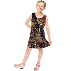 Leaves In Morning Dew,yellow Brown,red, Kids  Tunic Dress