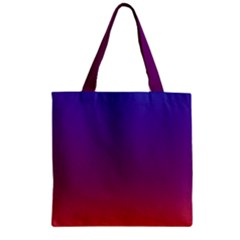 Purple Orange Blue Zipper Grocery Tote Bag by AnjaniArt