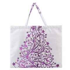 Elegant Starry Christmas Pink Metallic Look Zipper Large Tote Bag by yoursparklingshop