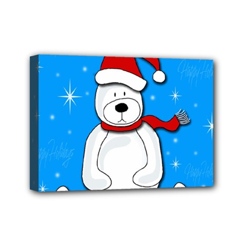 Polar Bear   Blue Mini Canvas 7  X 5  by Valentinaart