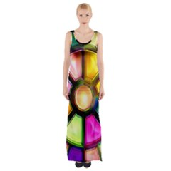 Glass Colorful Stained Glass Maxi Thigh Split Dress by Onesevenart