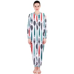 Spoon Fork Knife Pattern Onepiece Jumpsuit (ladies)  by Onesevenart
