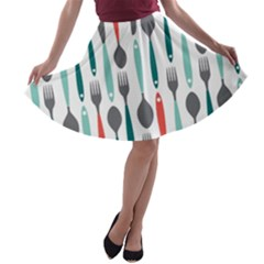 Spoon Fork Knife Pattern A Line Skater Skirt by Onesevenart