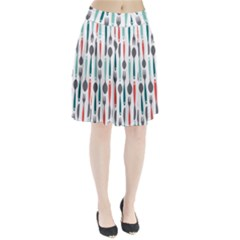 Spoon Fork Knife Pattern Pleated Skirt by Onesevenart