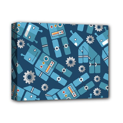 Seamless Pattern Robot Deluxe Canvas 14  X 11  by Onesevenart