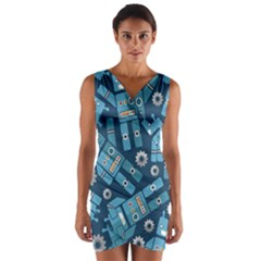 Seamless Pattern Robot Wrap Front Bodycon Dress by Onesevenart
