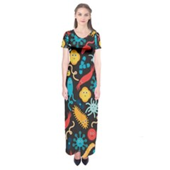 Virus Pattern Short Sleeve Maxi Dress by Onesevenart