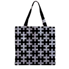Puzzle1 Black Marble & Gray Marble Zipper Grocery Tote Bag by trendistuff