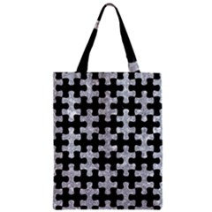 Puzzle1 Black Marble & Gray Marble Zipper Classic Tote Bag by trendistuff