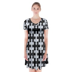 Puzzle1 Black Marble & Gray Marble Short Sleeve V Neck Flare Dress by trendistuff