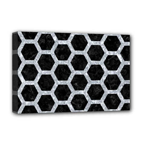 Hexagon2 Black Marble & Gray Marble Deluxe Canvas 18  X 12  (stretched) by trendistuff