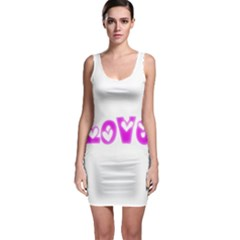 Pink Love Hearts Typography Sleeveless Bodycon Dress by yoursparklingshop