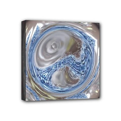 Silver Gray Blue Geometric Art Circle Mini Canvas 4  X 4  by yoursparklingshop