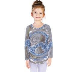 Silver Gray Blue Geometric Art Circle Kids  Long Sleeve Tee by yoursparklingshop