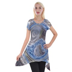 Silver Gray Blue Geometric Art Circle Short Sleeve Side Drop Tunic by yoursparklingshop