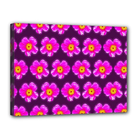 Pink Flower Pattern On Wine Red Canvas 16  X 12  by Costasonlineshop