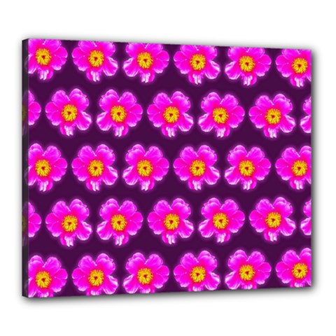 Pink Flower Pattern On Wine Red Canvas 24  X 20