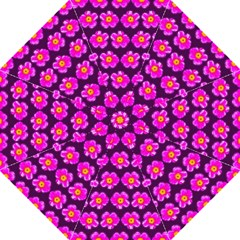 Pink Flower Pattern On Wine Red Straight Umbrellas