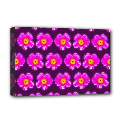 Pink Flower Pattern On Wine Red Deluxe Canvas 18  X 12