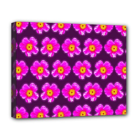 Pink Flower Pattern On Wine Red Deluxe Canvas 20  X 16