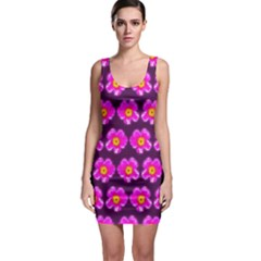 Pink Flower Pattern On Wine Red Sleeveless Bodycon Dress