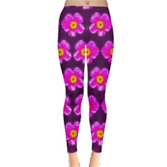Pink Flower Pattern On Wine Red Leggings  by Costasonlineshop