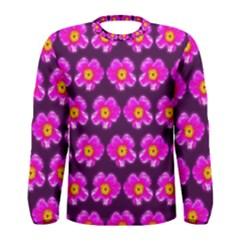 Pink Flower Pattern On Wine Red Men s Long Sleeve Tee