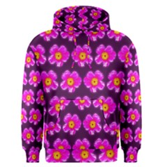 Pink Flower Pattern On Wine Red Men s Pullover Hoodie