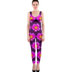 Pink Flower Pattern On Wine Red Onepiece Catsuit