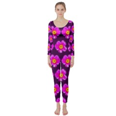 Pink Flower Pattern On Wine Red Long Sleeve Catsuit