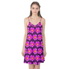 Pink Flower Pattern On Wine Red Camis Nightgown