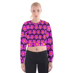 Pink Flower Pattern On Wine Red Women s Cropped Sweatshirt
