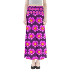 Pink Flower Pattern On Wine Red Maxi Skirts