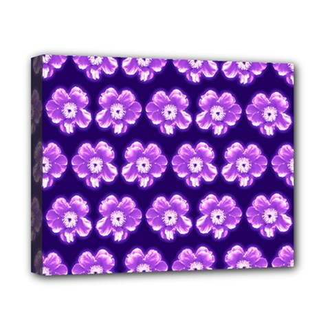 Purple Flower Pattern On Blue Canvas 10  X 8  by Costasonlineshop