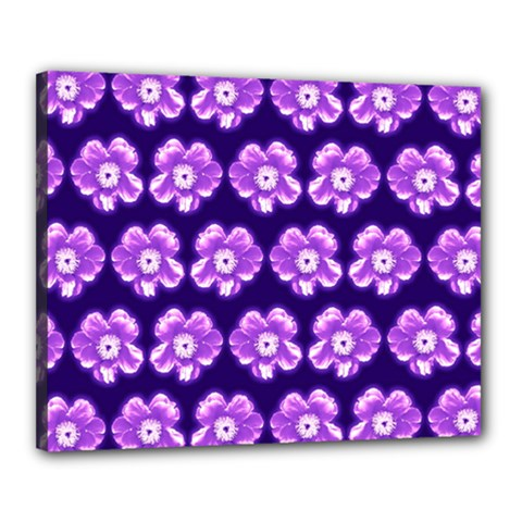 Purple Flower Pattern On Blue Canvas 20  X 16